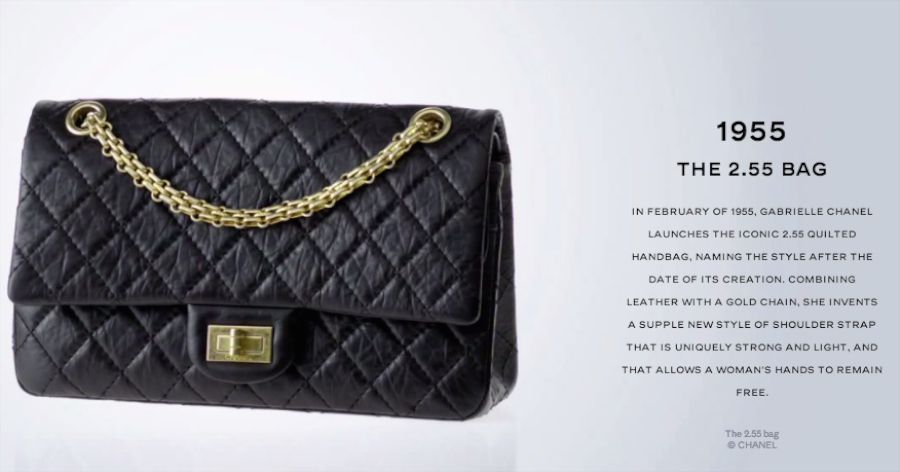 8147fcfaa659 It all started in February of 1955 when Gabrielle (Coco) Chanel created a  handbag for herself. She was tired of carrying top handle bags on her arm  and ...