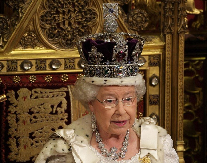 The Kohinoor Diamond rests in the center of her crown.