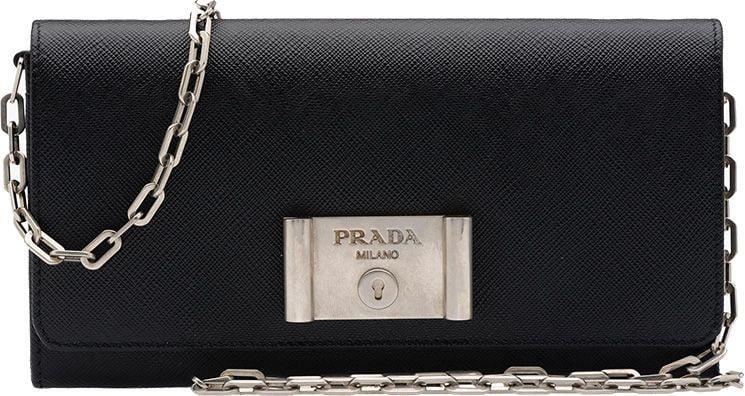 prada blue saffiano tote - WOC Wonder: Prada Saffiano Lock Leather Wallet on Chain - PurseBop