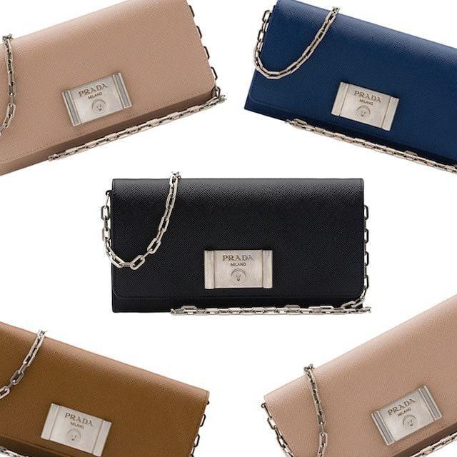 a7112938b457 WOC Wonder: Prada Saffiano Lock Leather Wallet on Chain - PurseBop
