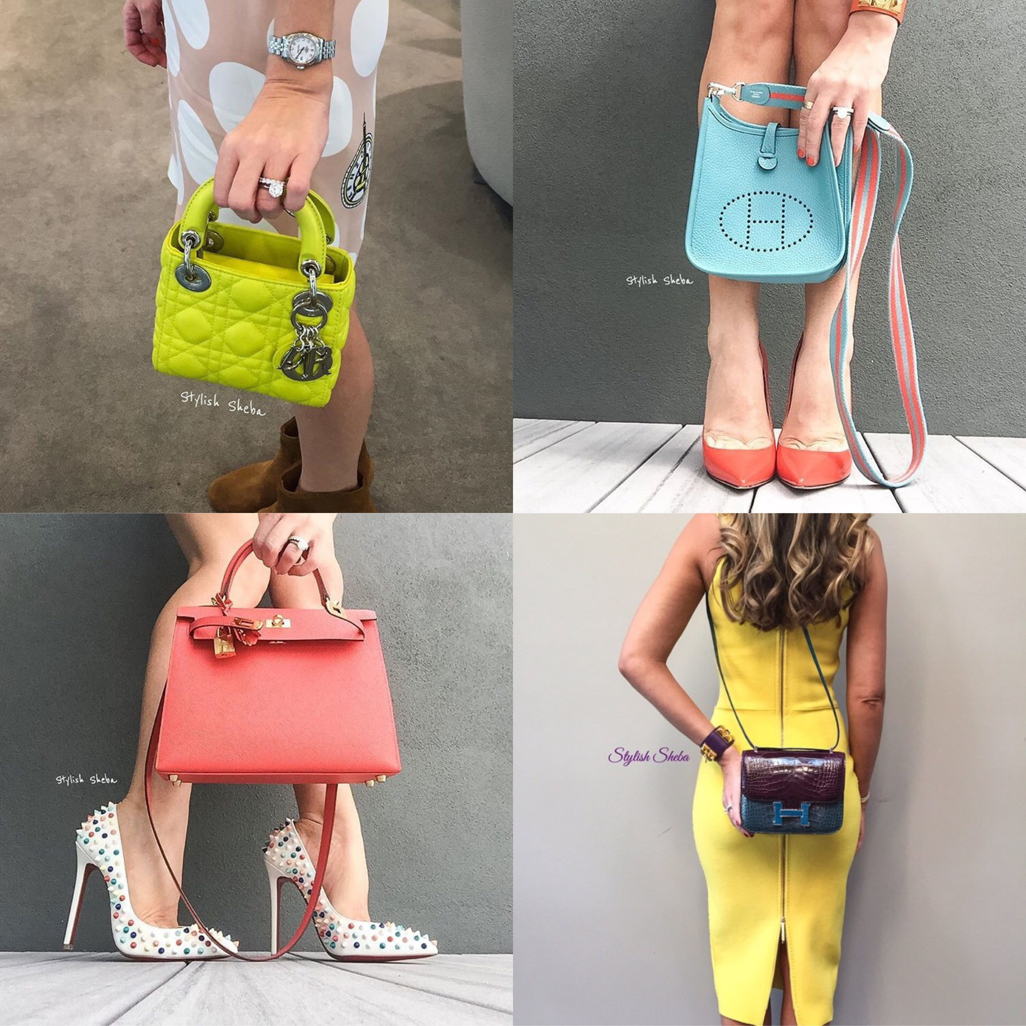 17cbf3c9b1 Mini Mood from BopTalk Celebrity Stylish Sheba. From left to right: Lady  Dior Mini, Hermes Evelyn Mini, Hermes Kelly 25 Mini, Hermes Constance Mini.