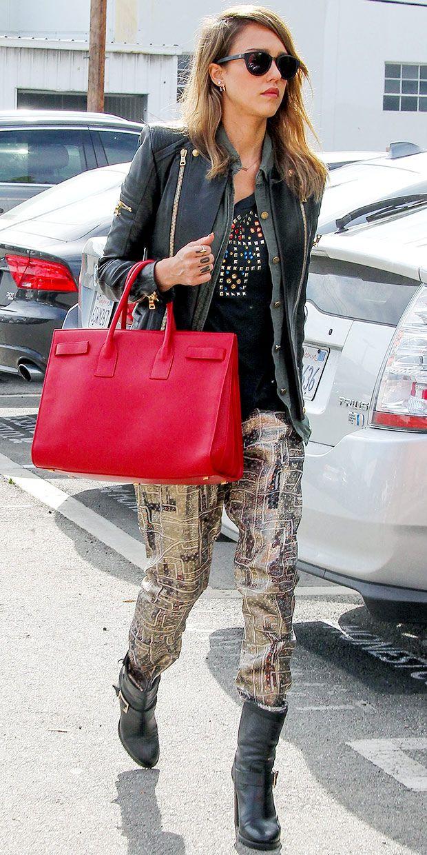 3acfbf0fd1c Jessica Alba. Saint Laurent Monogram Shoulder Bag. Saint Laurent Sac de  Jour Bag