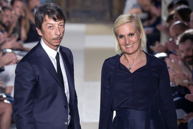 Mandatory Credit: Photo by Giovanni Giannoni/WWD/REX/Shutterstock (5735839u) Pierpaolo Piccioli and Maria Grazia Chiuri on the catwalk Valentino show, Runway, Paris Men's Fashion Week, Spring Summer 2017, France - 22 Jun 2016