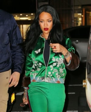 Rihannas-New-York-City-Gucci-Spring-2016-Green-Floral-Embroidered-Track-Jacket-and-Pants1