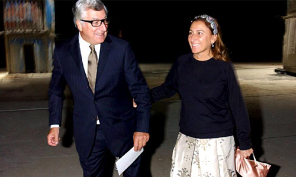 CEO Patrizio Bertelli and Miucci Prada. Photo courtesy: CelebFamily.com