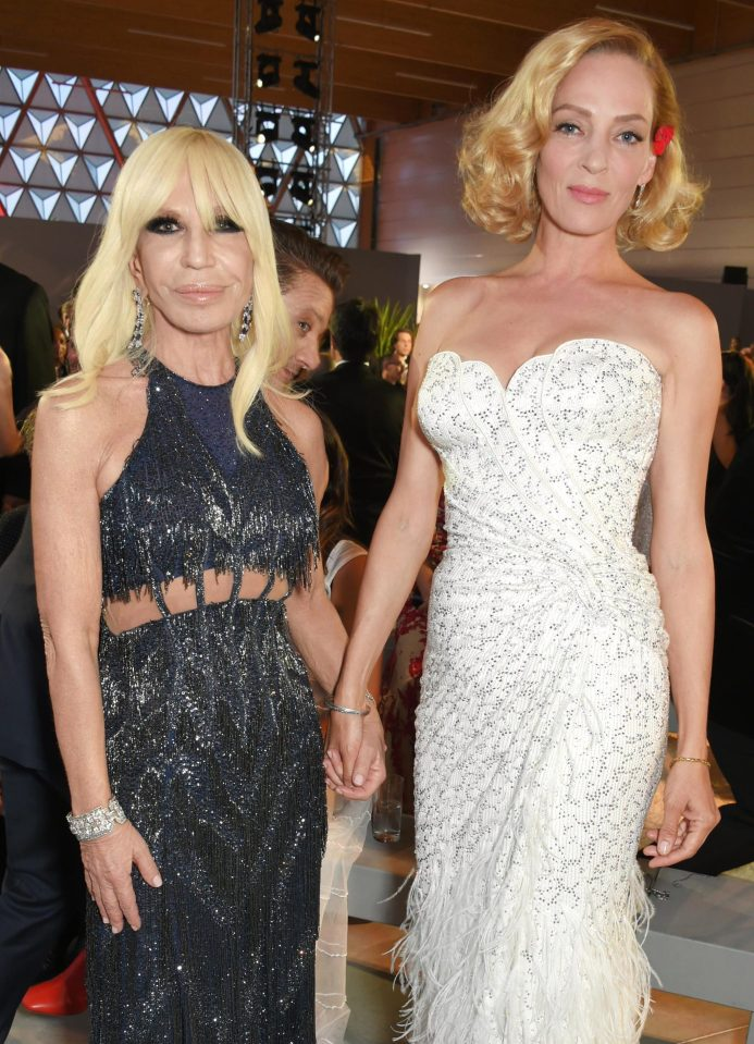 Donatella Versace and Uma Thurman. Photo courtesy: The Sun