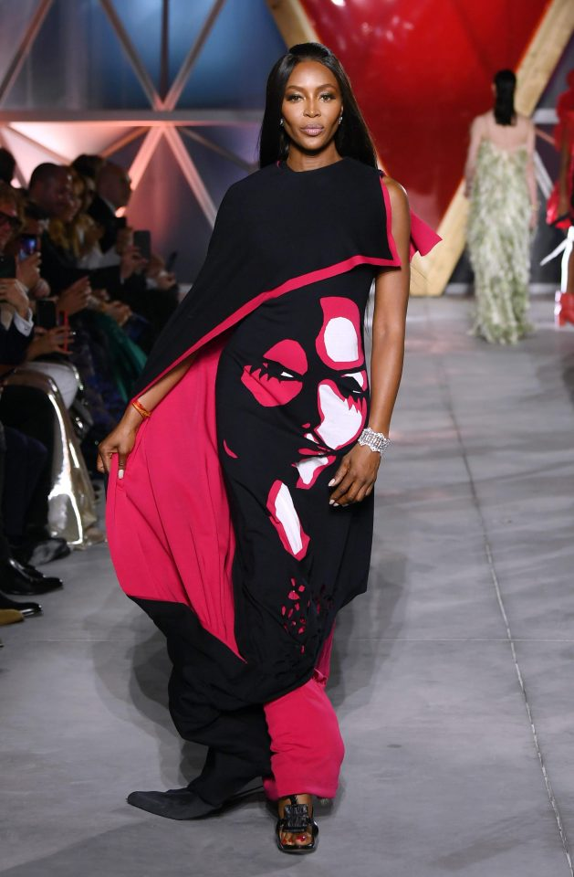 Naomi Campbell on the catwalk. Photo courtesy: The Sun