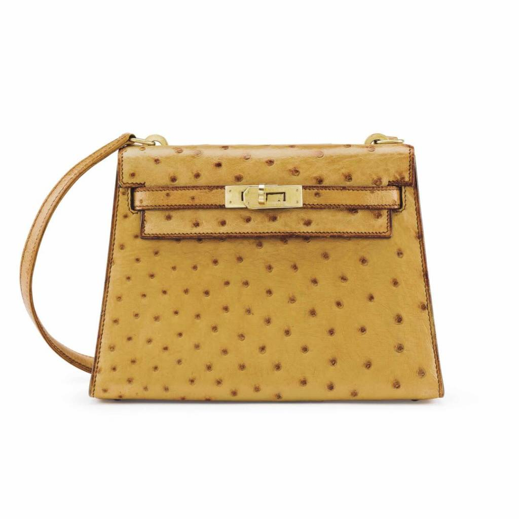 A COGNAC OSTRICH MINI SELLIER SHOULDER KELLY 20 WITH GOLD HARDWARE SM