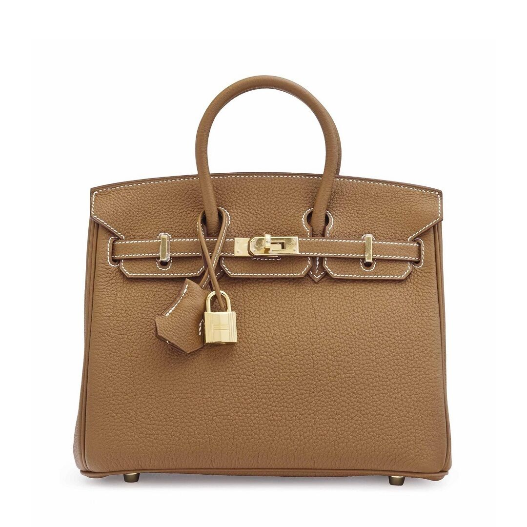 A GOLD TOGO LEATHER BIRKIN 25 WITH GOLD HARDWARE