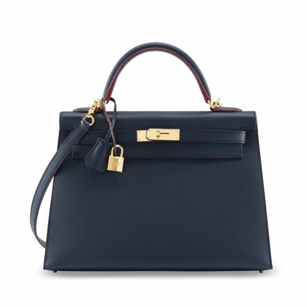 A LIMITED EDITION BLUE INDIGO EPSOM LEATHER SELLIER CONTOUR KELLY 32 WITH GOLD HARDWARE SM
