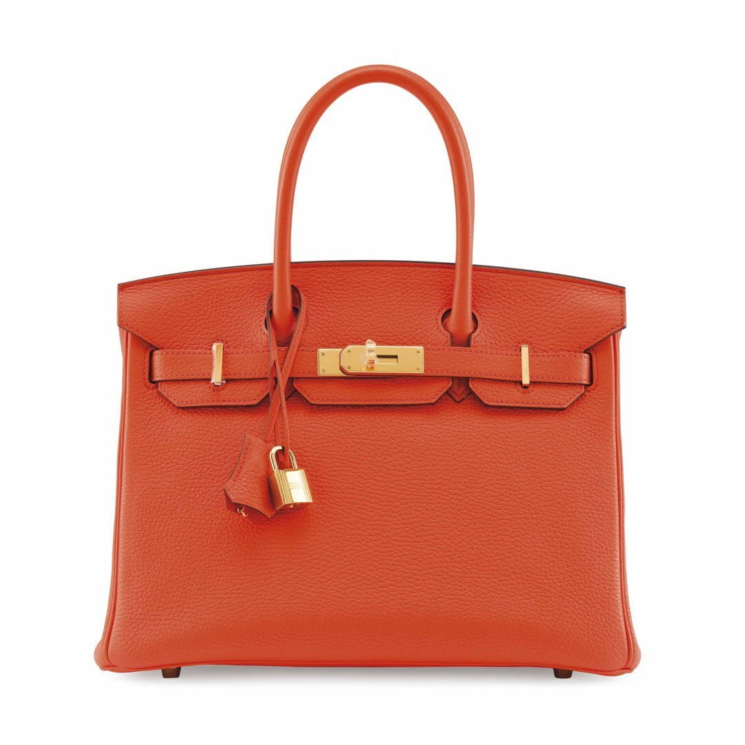 AN ORANGE POPPY TOGO LEATHER BIRKIN 30 WITH GOLD HARDWARE sm