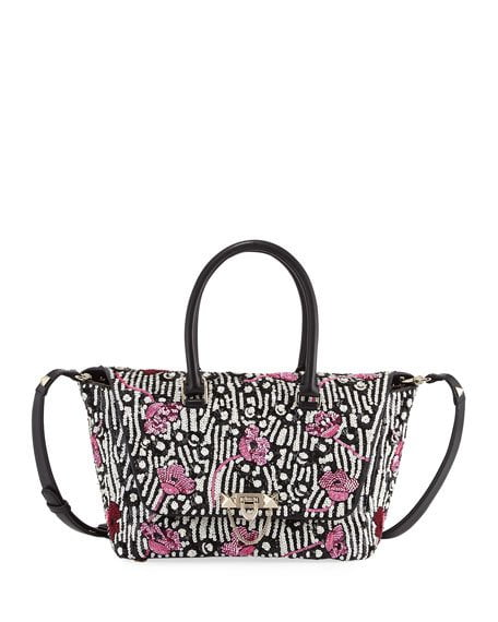 demilune small sequined tote