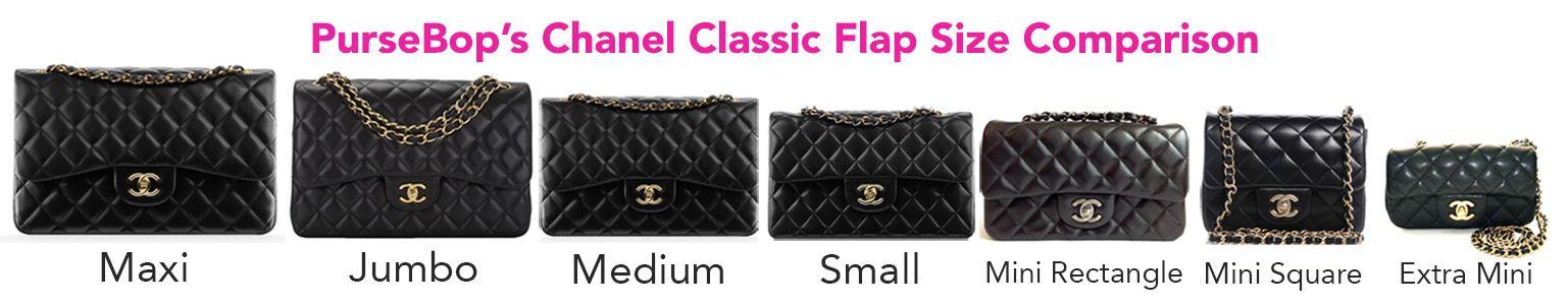1b7b1df42d5abf Chanel Classic Flap Size Comparison - PurseBop
