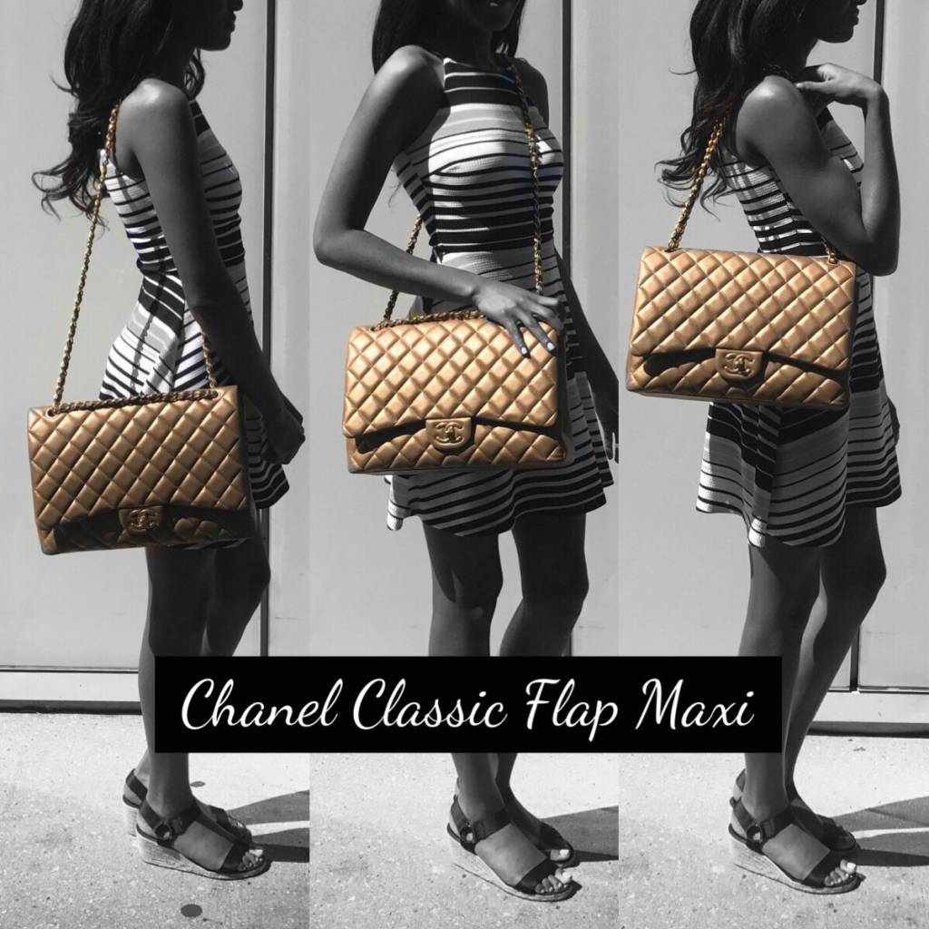 Classic Chanel maxi flap bag forecast dress in autumn in 2019