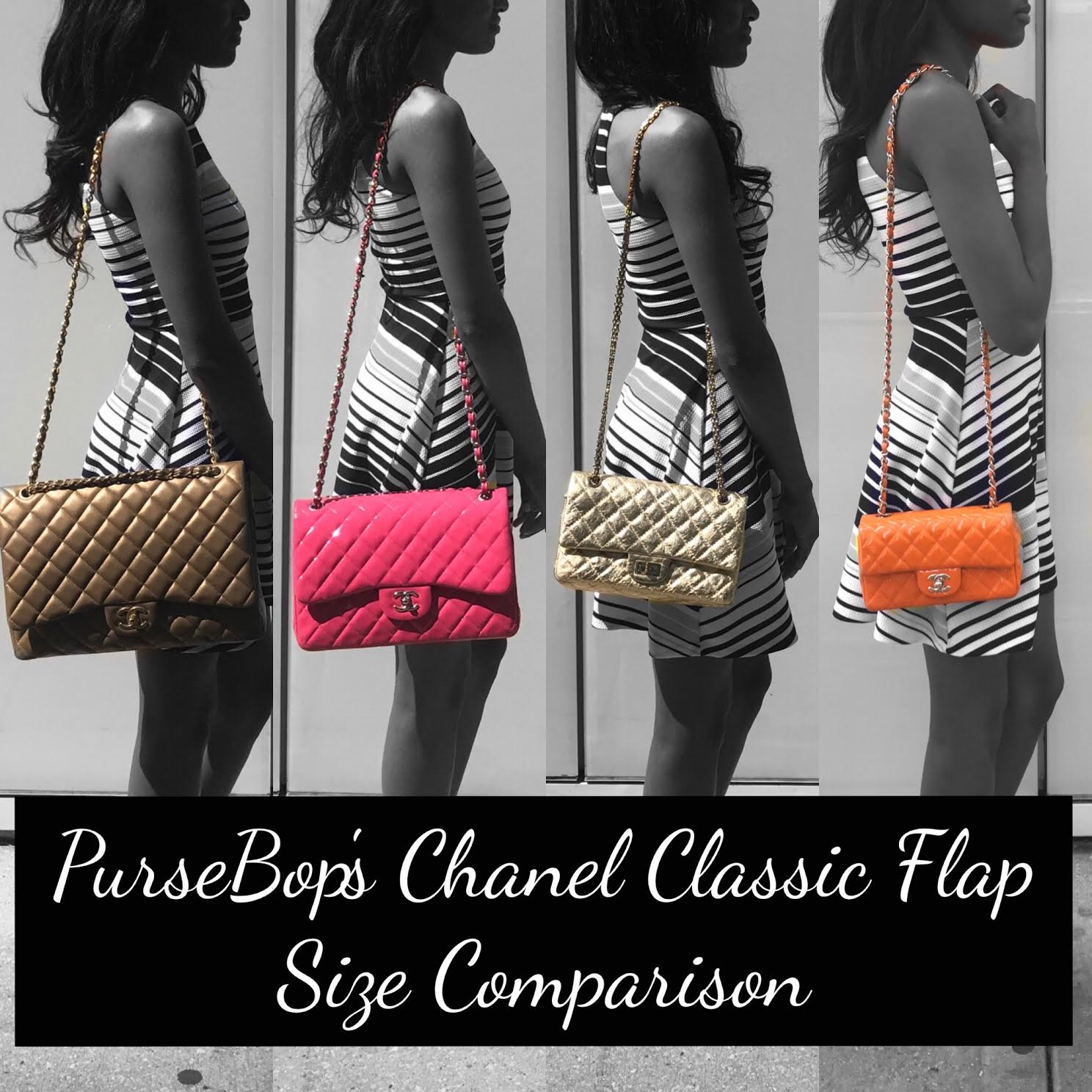 1009e24d97c6f4 Chanel Classic Flap Size Comparison - PurseBop