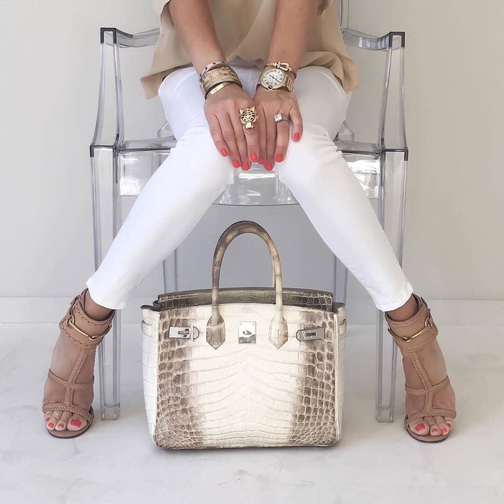 ca8f49c14f  upcloseandstylish poses with her Himalayan Birkin 30. Click to read about  her HGB