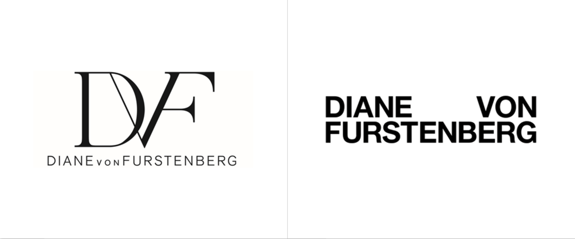Diane von Furstenberg: Old vs. New Logo. Photo courtesy: Jonny Lu Studio