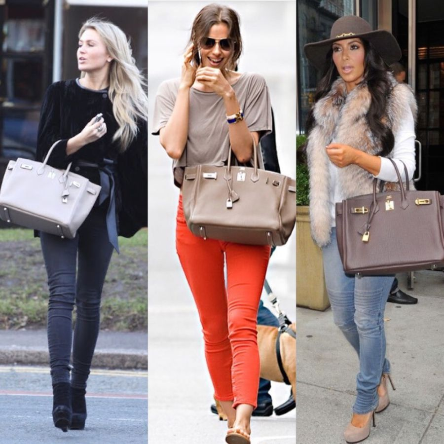 Alex Curran with Hermès Gris Tourterelle, Irina Shayk with Hermès Etoupe and Kim Kardashian West with Hermès (we aren't really sure what color, your guess?)