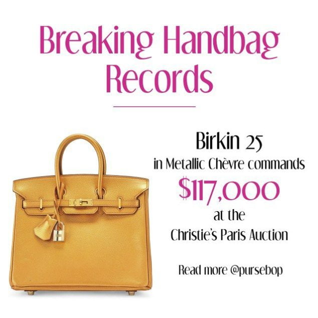 The world record for a leather Birkin sold at auction