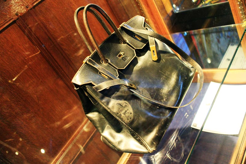 The first Birkin Bag, on display at Liberty London. Photo courtesy: Style Bubble