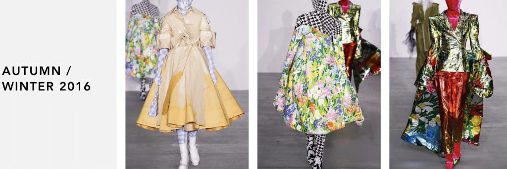Past Richard Quinn designs. Photo courtesy: London Fashion Week