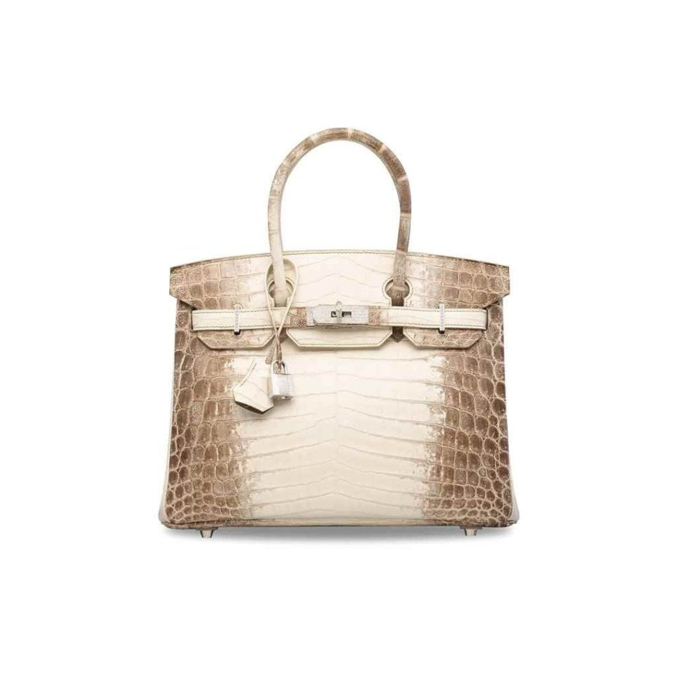 An exceptional, matte white Himalaya niloticus crocodile Diamond Birkin 30 with 18k white gold & diamond hardware. Photo courtesy: Christie's