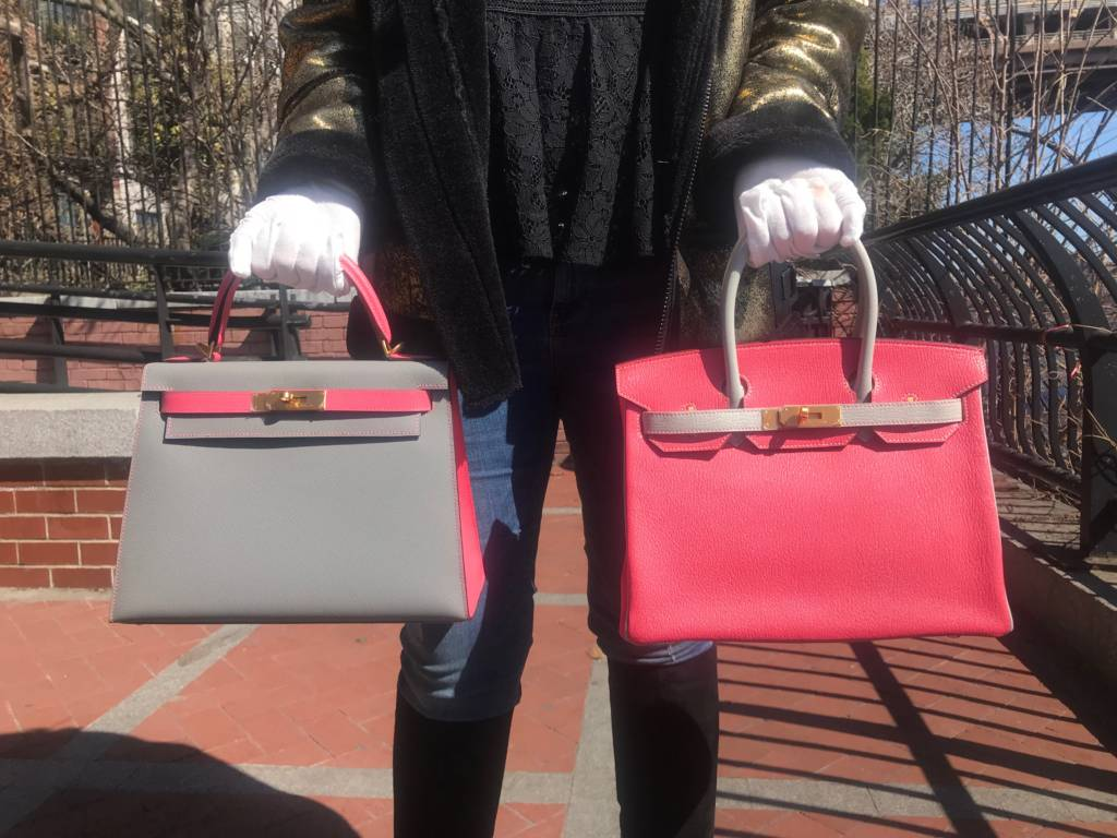 d4af12a21a05 Hermès Special Orders at Madison Avenue Couture. Left  Gris Mouette and  Rose Azalee Epsom Sellier Kelly 28cm Brushed Gold Hardware versus Right   Rose ...