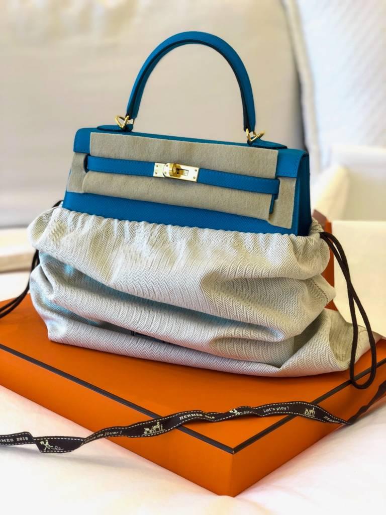 Hermes Kelly 25 Sellier Blue Zanzibar