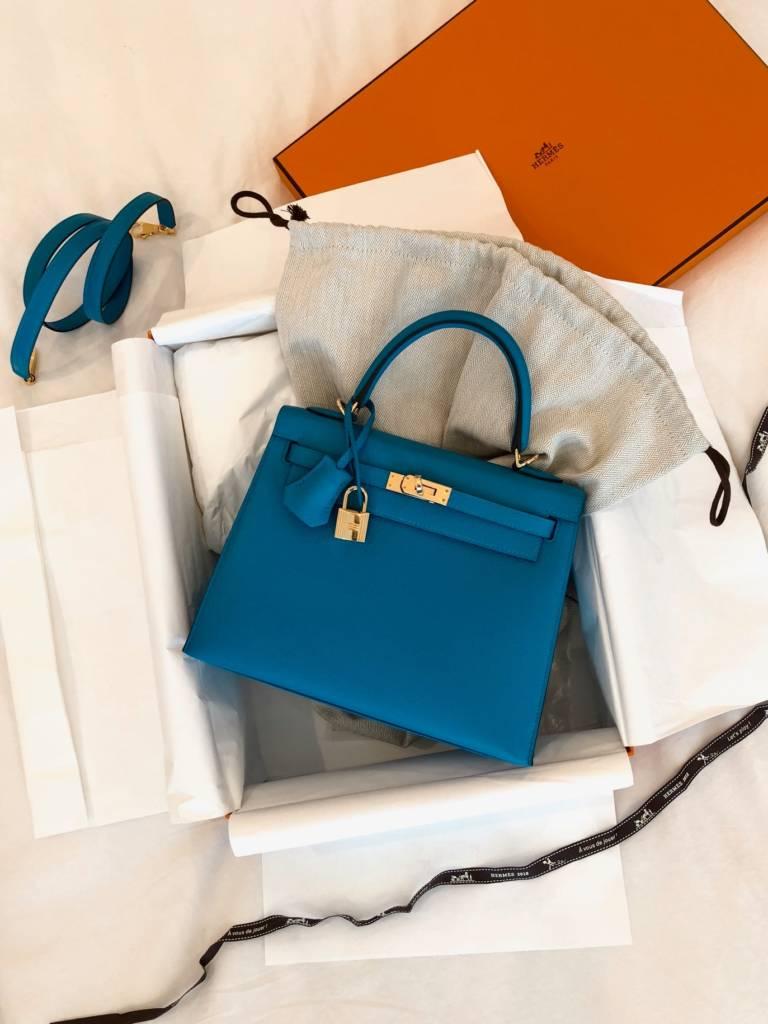 Hermes Kelly Sellier Blue Zanzibar
