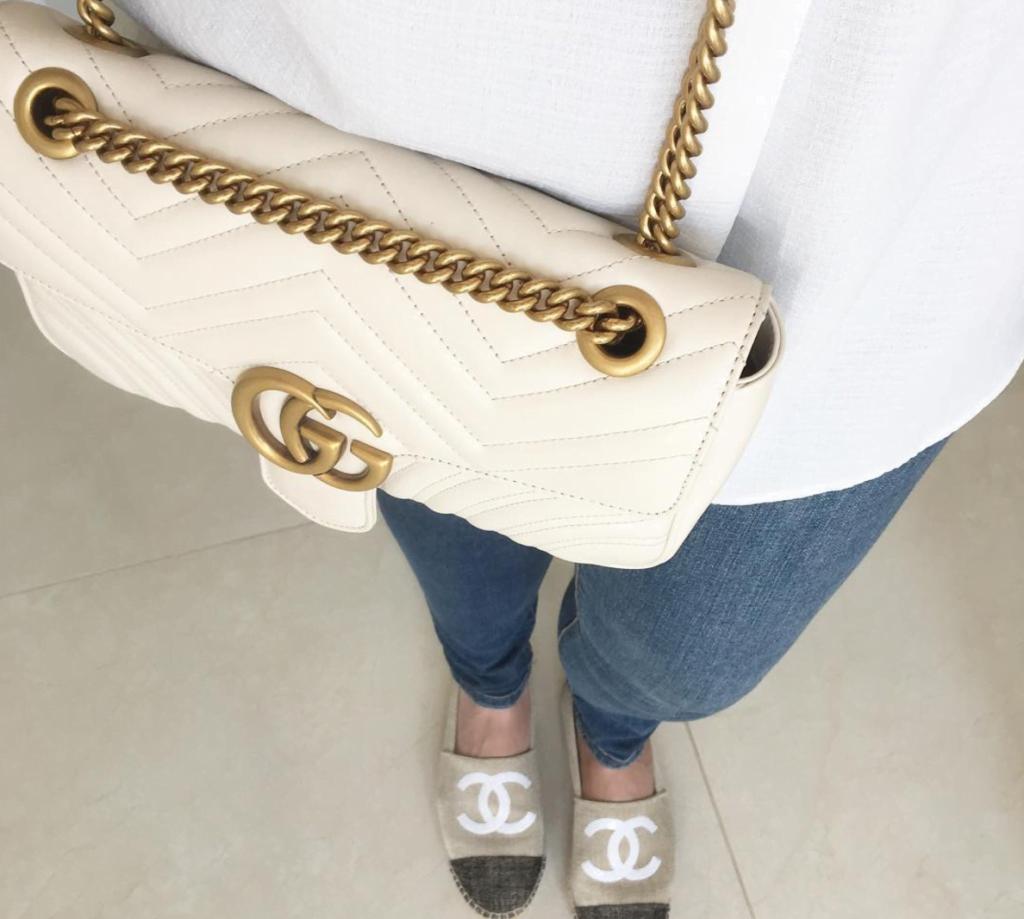 Gucci GG Marmont white gold luxury handbag