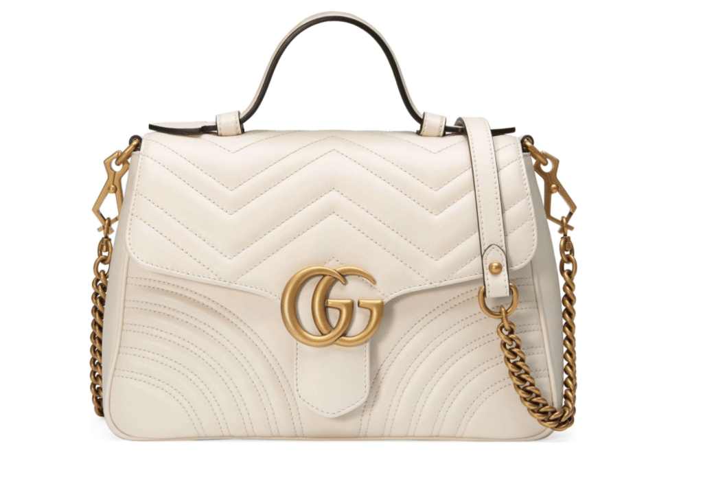 Gucci GG Marmont white gold luxury handbag