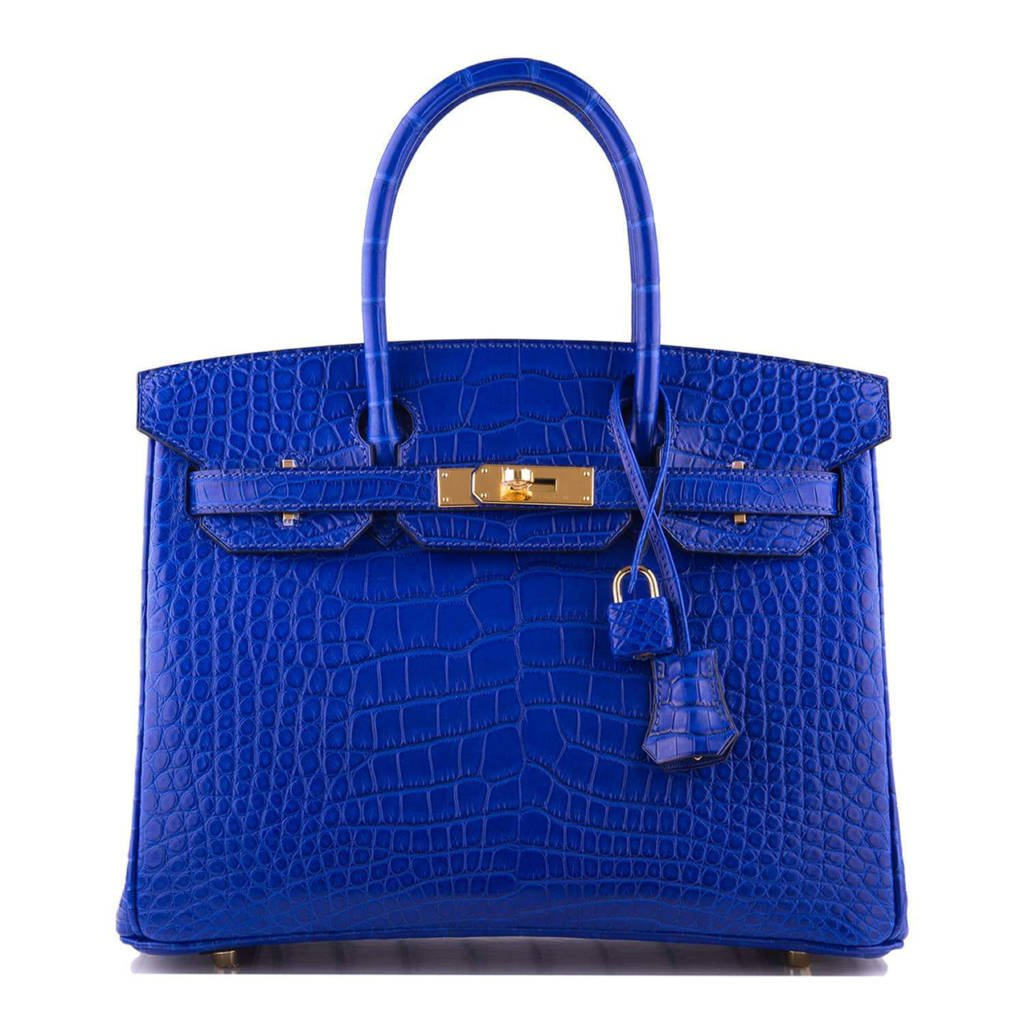 Hermes Blue Electric Matte Alligator Birkin 30cm Gold Hardware