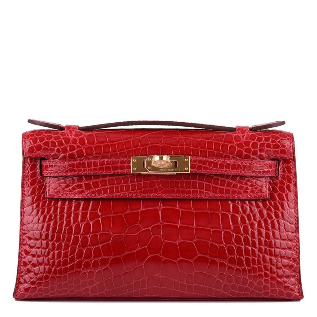 Hermes Braise Shiny Alligator Mini Kelly Pochette