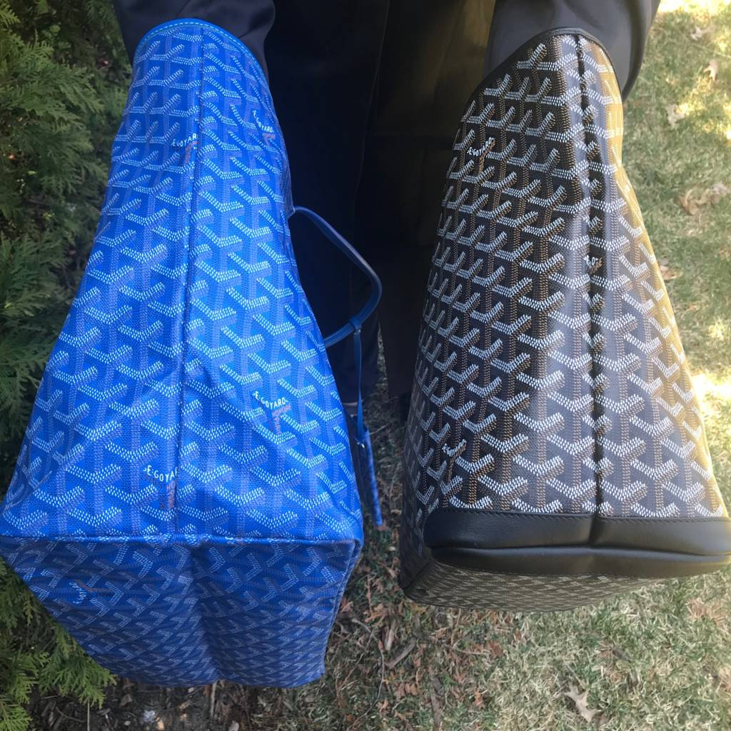 comparison of goyard saint louis tote GM blue goyard artois tote mm