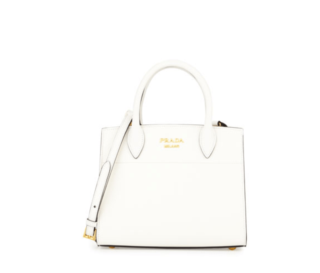 Prada saffiano small tote luxury handbag white