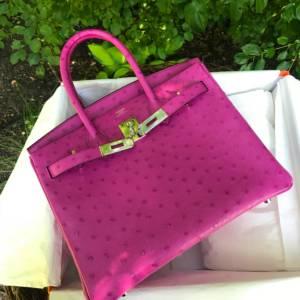 Hermes Rose Pourpre Ostrich birkin 30 pursebop birthday baggie hermes fsh hermes ostrich