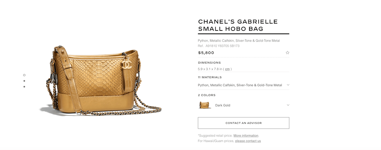 Pricing at chanel.com on June 29, 2018