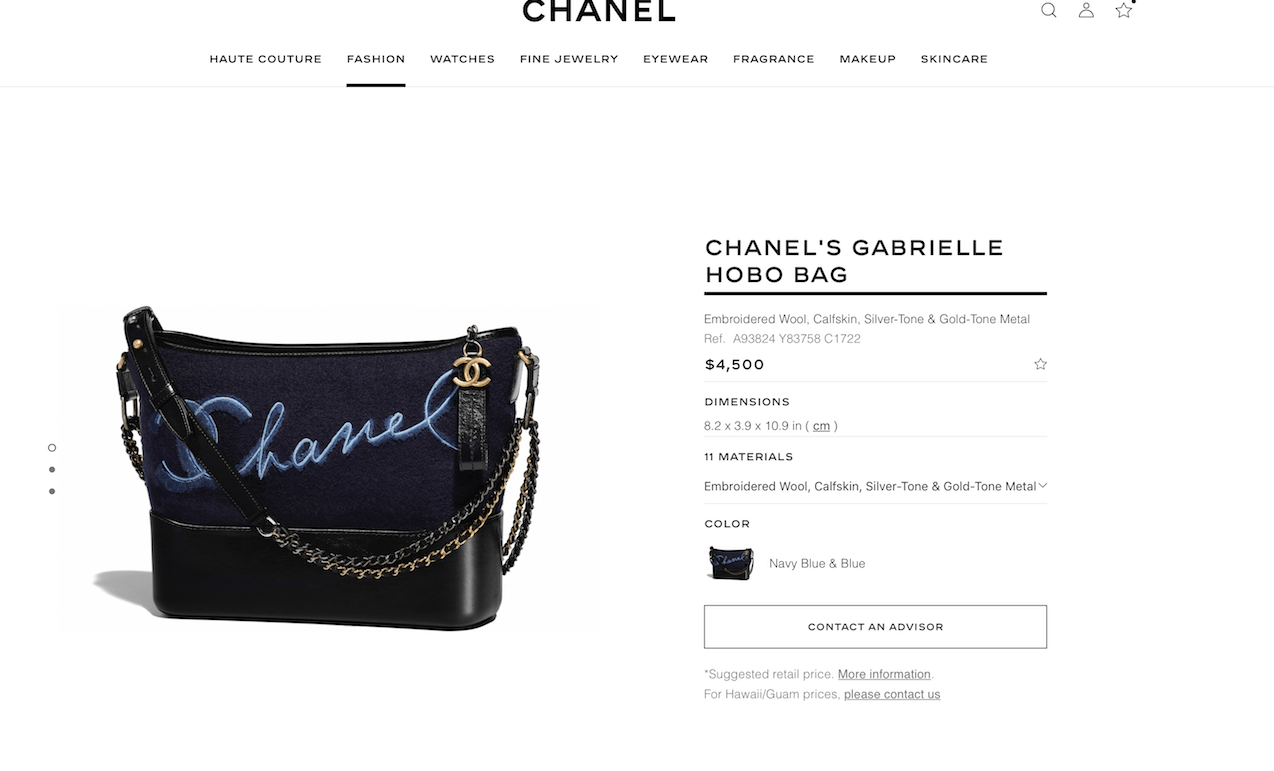 Pricing at chanel.com on July 2, 2018