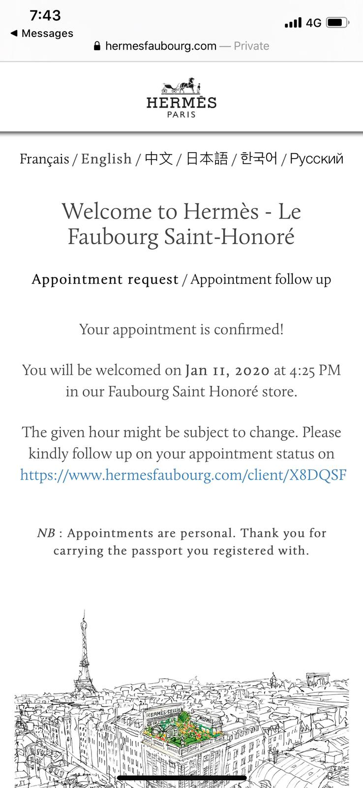 Hermes appointment time confirmation