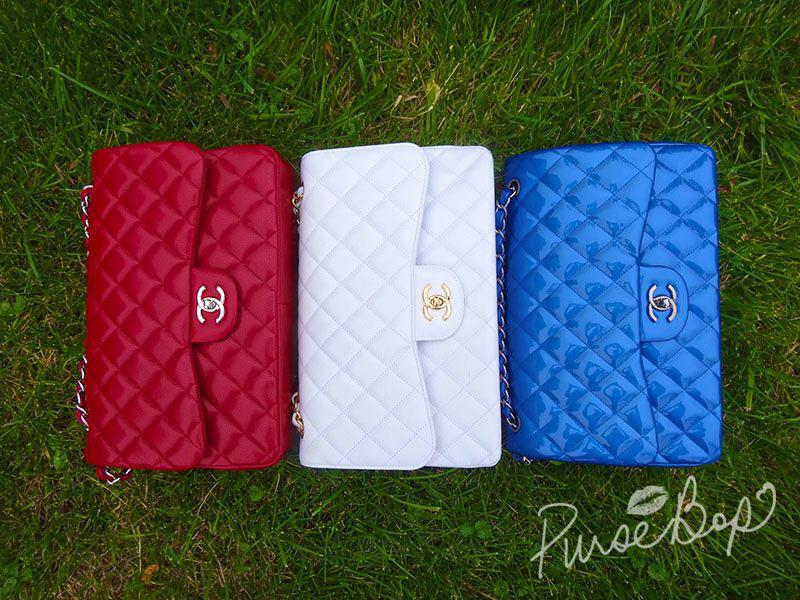 Red white and Blue Chanel Classic Flap Bags