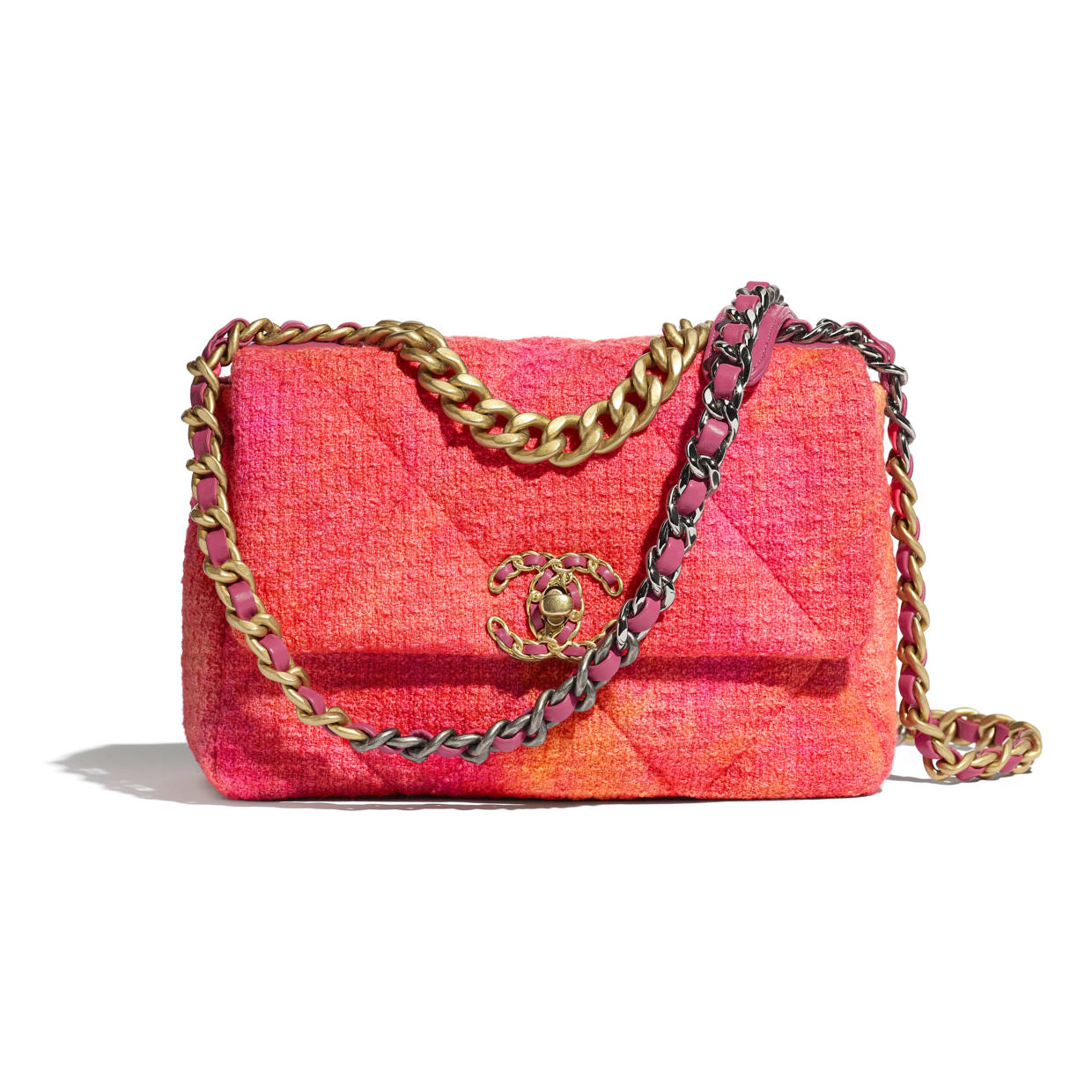 Pink and Orange Tweed Chanel 19