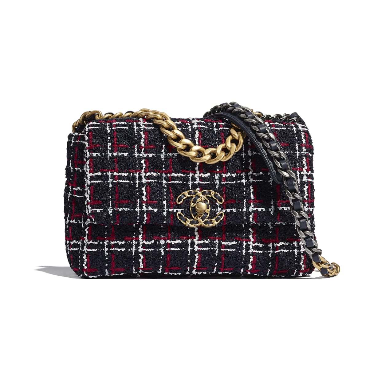 red, black and white tweed chanel 19