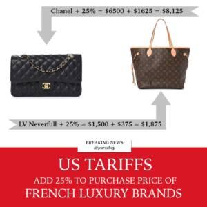 French Luxury tariff USA