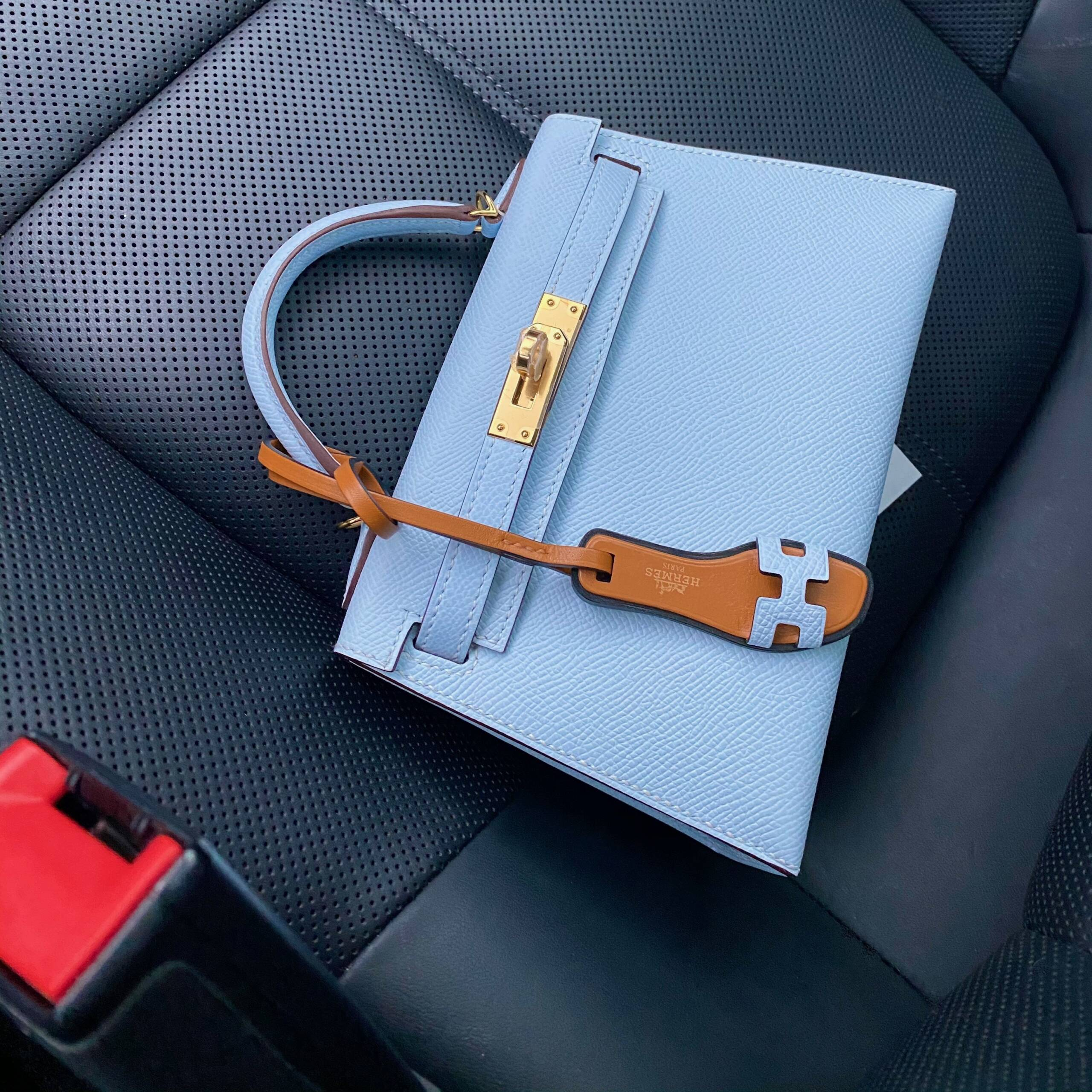 Hermes mini kelly 20 blue brume reveal gold hardware kelly 20