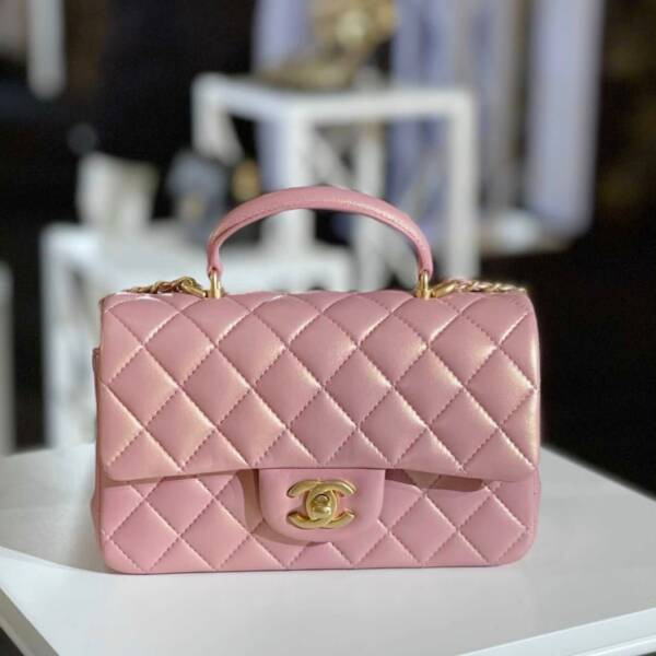 Chanel 21S colors iridescent pink classic flap calfskin