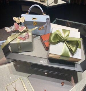 Van Cleef & Arpels Lotus Ring Hermes blue brume mini kelly